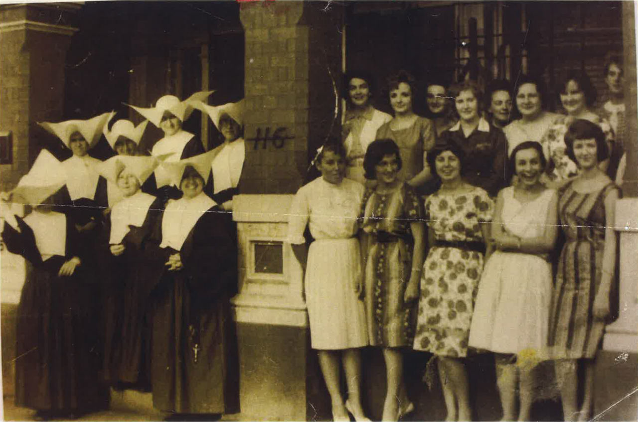 The Daughters of Charity & bourders at the entrance of The Nunnery